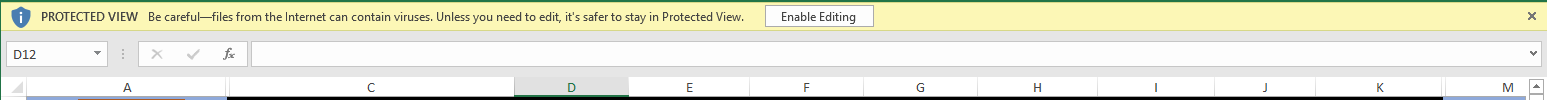 "Excel bar for ""enable editing"""