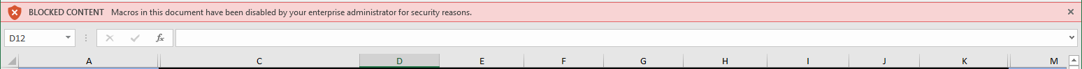 "Excel bar for ""Macros warning"""