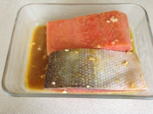 Salmon in a soy sauce marinade