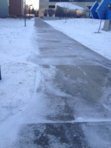 slippery sidewalks