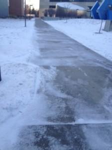 slippery sidewalks