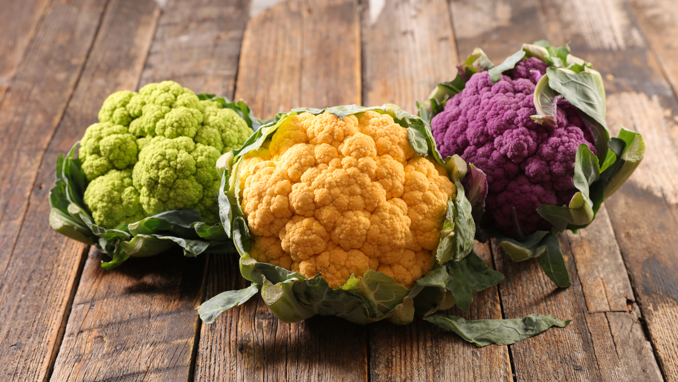 Green, yellow, and purple cauliflower
