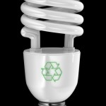 Energy saving light bulb with recycling symbol over black