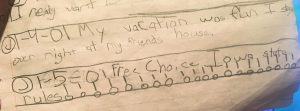 Childhood journal entry from 2001
