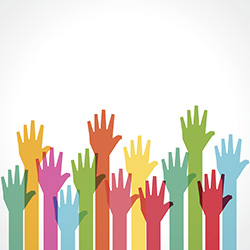 colorful hands raised with white background