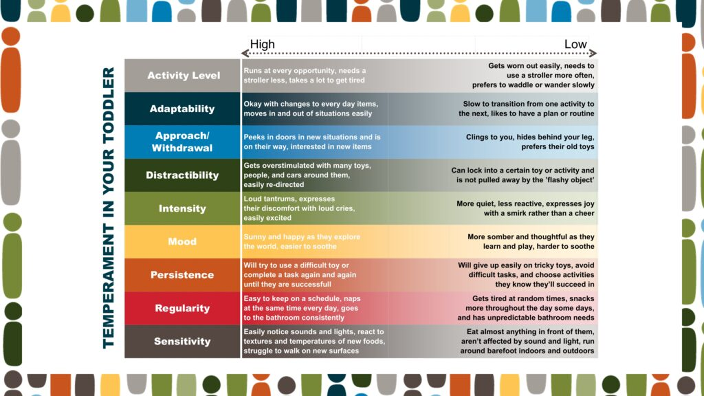 A full chart of temperament as it pertains to a toddler, as discussed in the podcast.