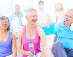 diverser mature group fitness active