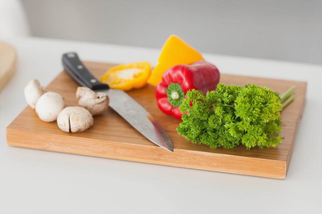 cutting board veggies