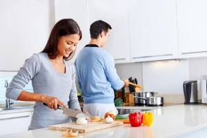 couple cooking in kitchen meals