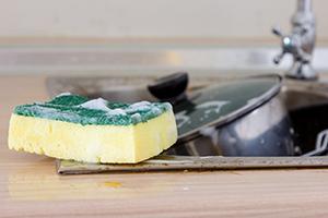 Clean sponge in sink