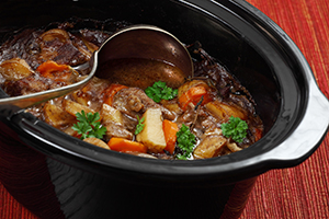 Irish stew in a slow cooker pot