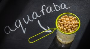 Chickpeas in strainer