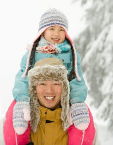 Father and daughter in snow