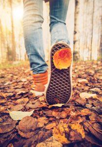 Walking in leaves