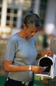 woman getting mail