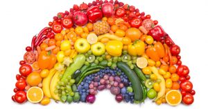 Rainbow of vegetables and fruits