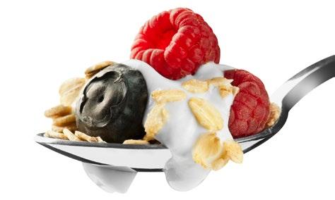 Spoonful of yogurt, fruit, and granola