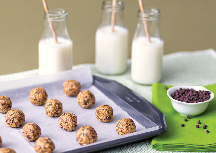 Energy bites on sheet pan with milk
