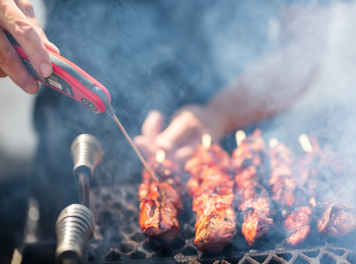 Grilling meat and using a food thermometer